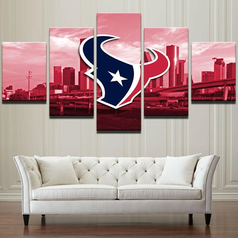 5 Piece Houston Texans Logo Sport Wall Art Canvas Paintings - It Make Your Day