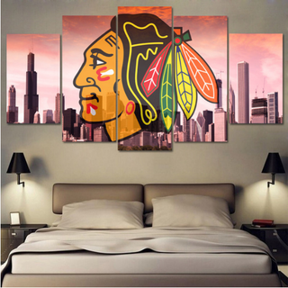 5 Piece Chicago Blackhawks 4 Ice Hockey Canvas - It Make Your Day