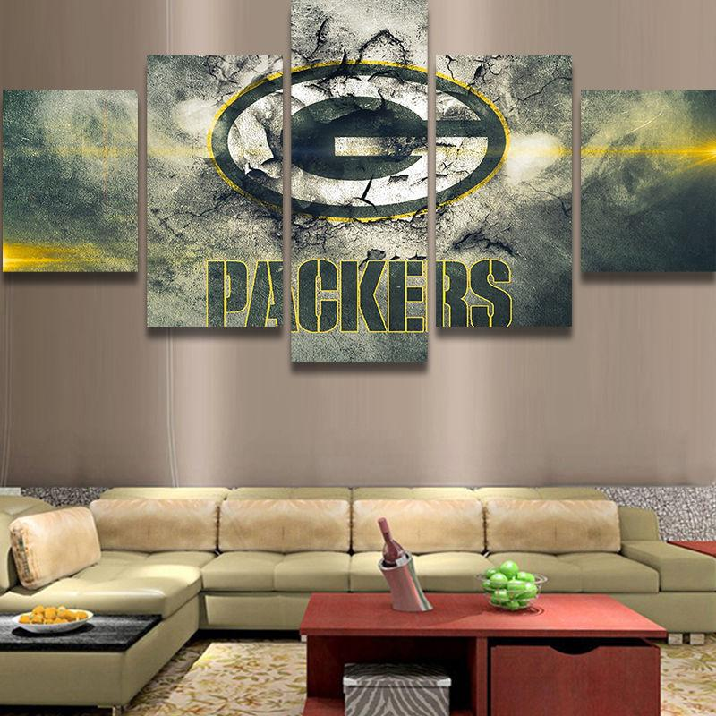 5 Piece Green Bay Packers Football Canvas Wall Art Paintings Sale ...