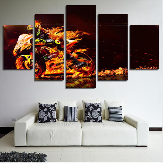 5 Piece Valentino Rossi Motor Canvas Wall Art Paintings