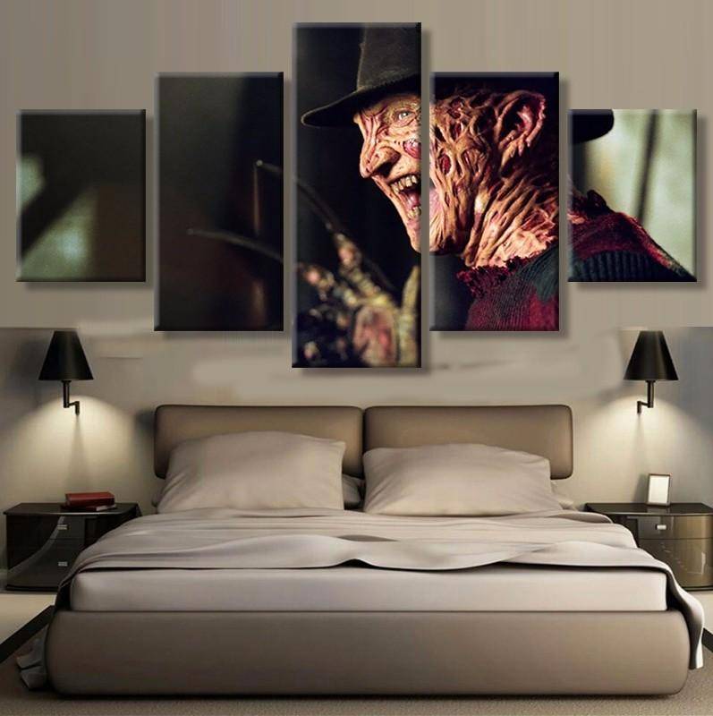 5 Piece Nightmare On Elm Street Movie Canvas Painting Wall Art - It Make Your Day