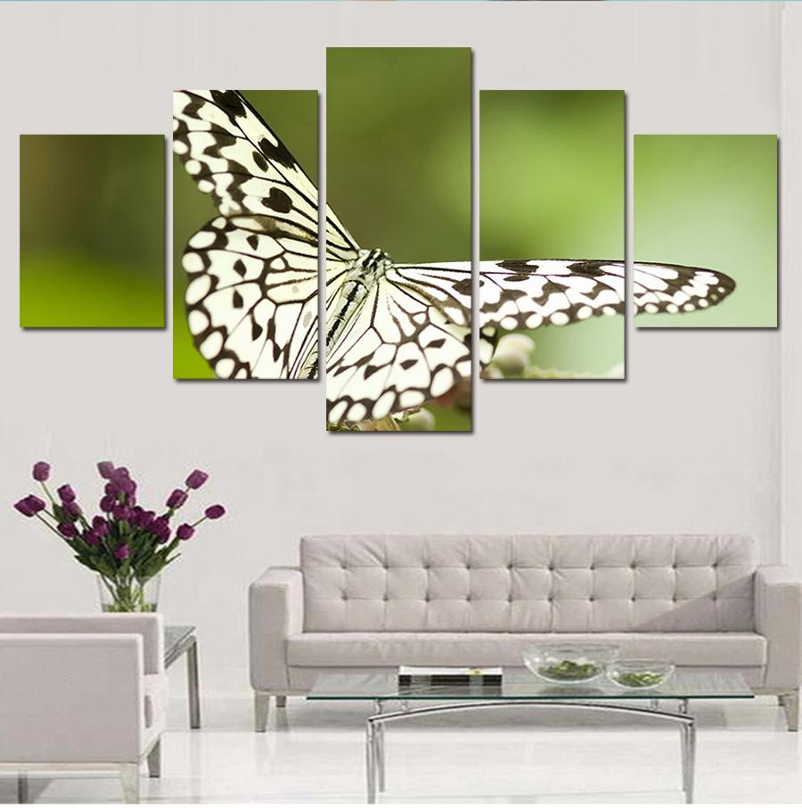 Framed 5 Piece Noble And Beautiful Butterfly Canvas Wall Art Sets - It Make Your Day