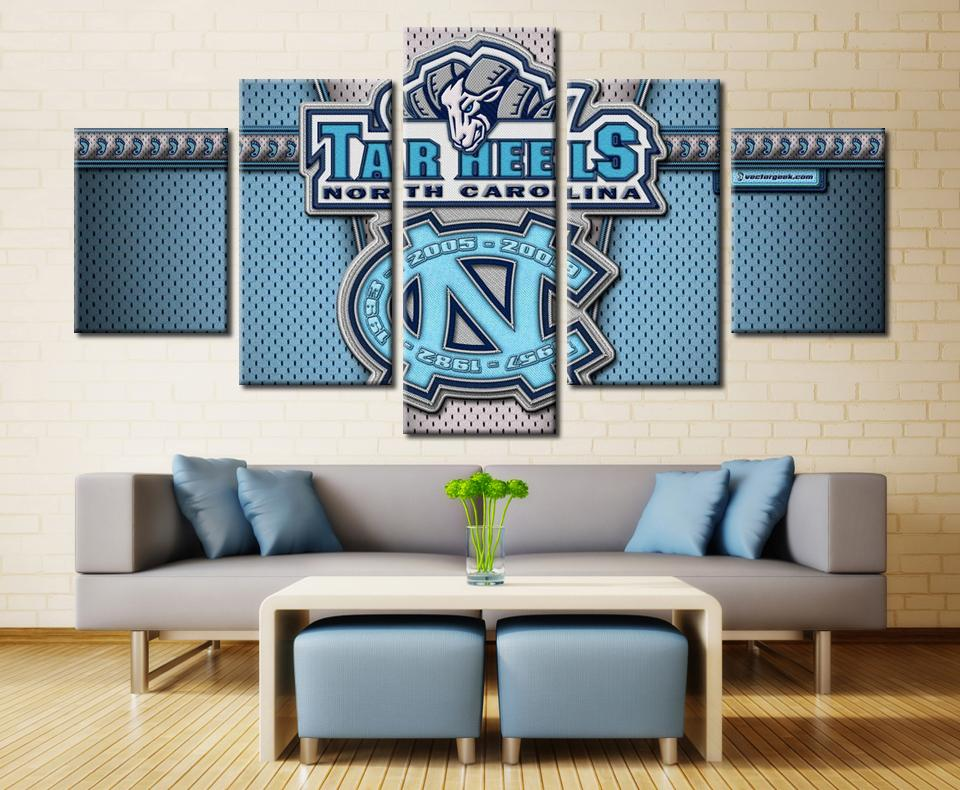 5 Piece North Carolina Tar Heels Basketball Canvas Painting Wall Art - It Make Your Day