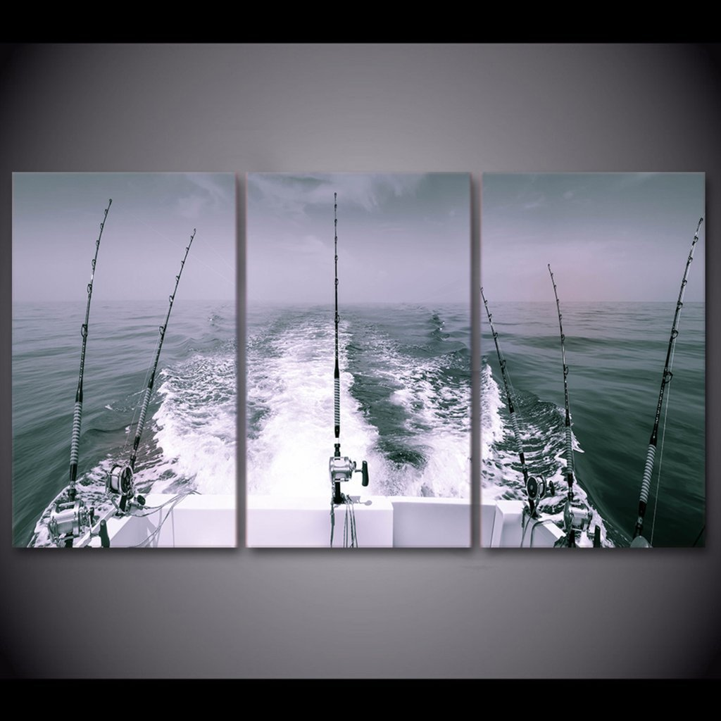 3 Piece Offshore Fishing Canvas Wall Art Sets - It Make Your Day