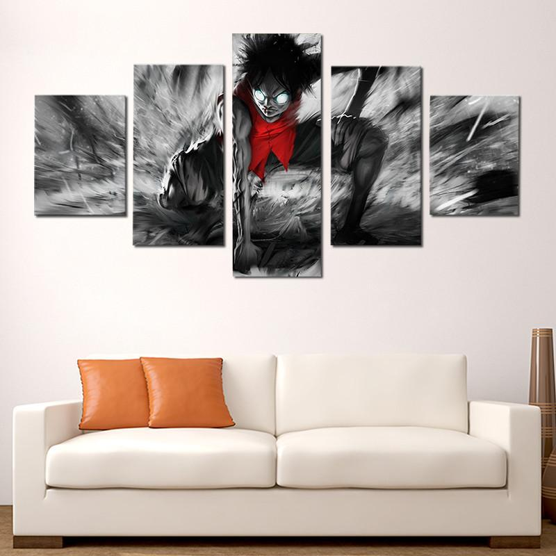5 Piece Luffy 2nd Gear Canvas Wall Art Paintings - It Make Your Day