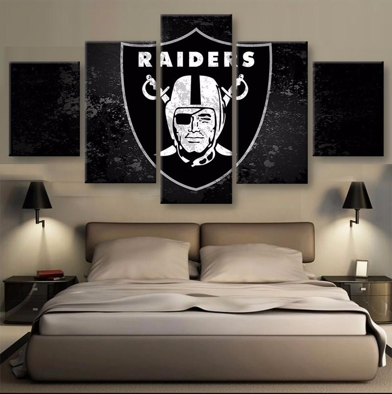 5 Piece Oakland Raiders Football American Canvas Painting Wall Art - It Make Your Day