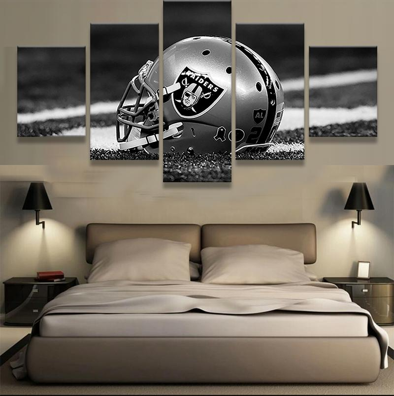 5 Piece Oakland Raiders Helmet Football Canvas Painting Wall Art - It Make Your Day