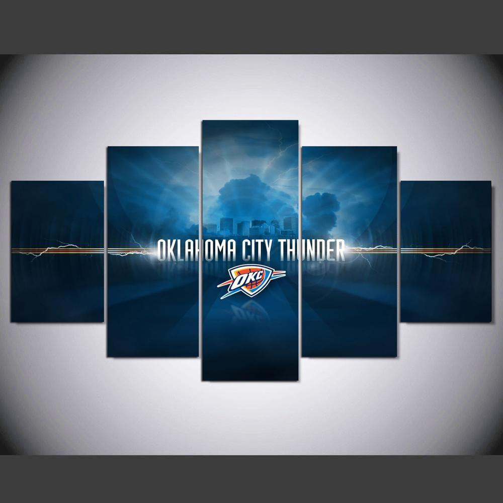 5 Piece Oklahoma City Thunder Wall Art Canvas Paintings - It Make Your Day