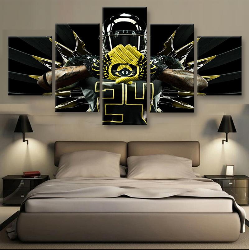 5 Piece Oregon Ducks Combat American Football Canvas Painting Wall Art - It Make Your Day