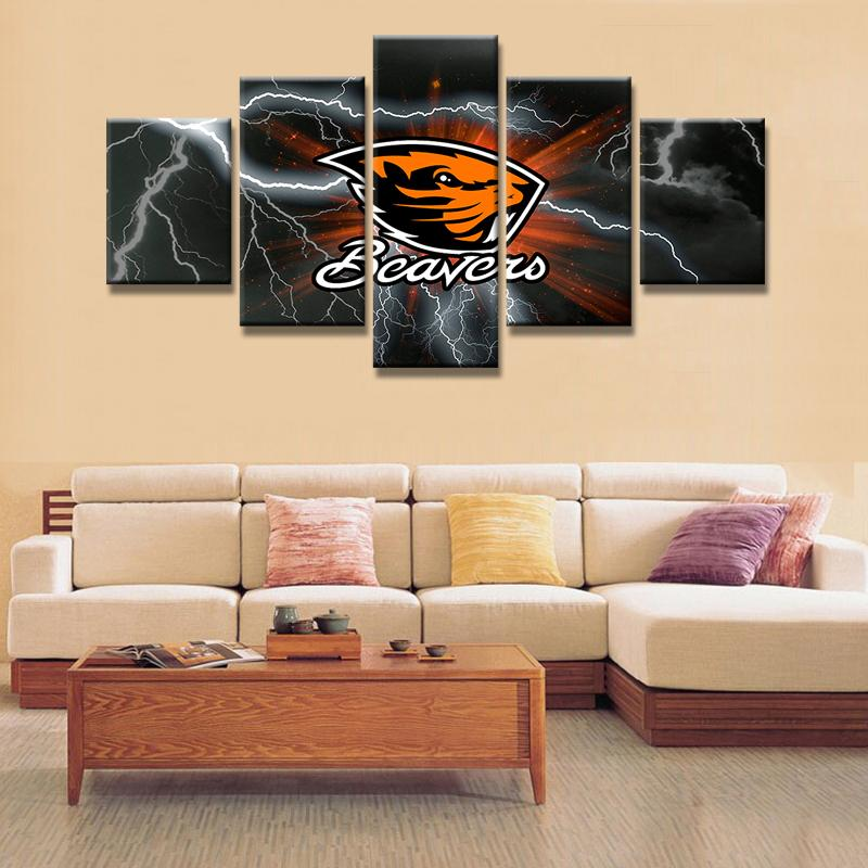 5 Piece Oregon State Beavers Football Canvas Painting Wall Art - It Make Your Day