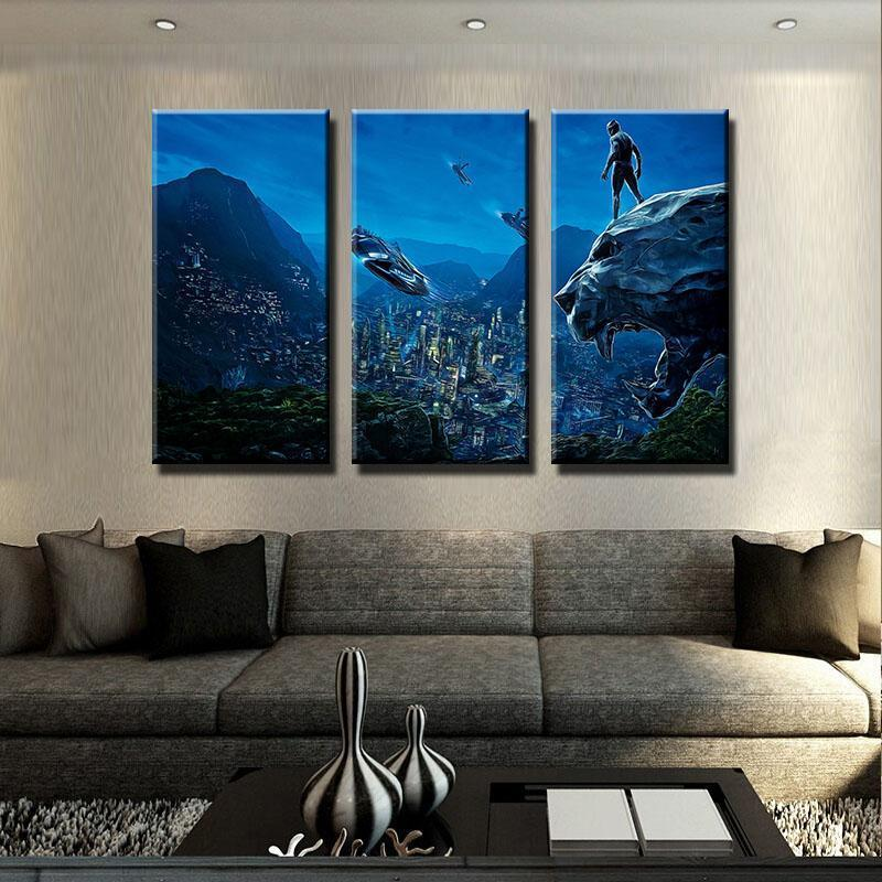 3 Piece Panther Scenic Night Movie Canvas Wall Art Paintings - It Make Your Day