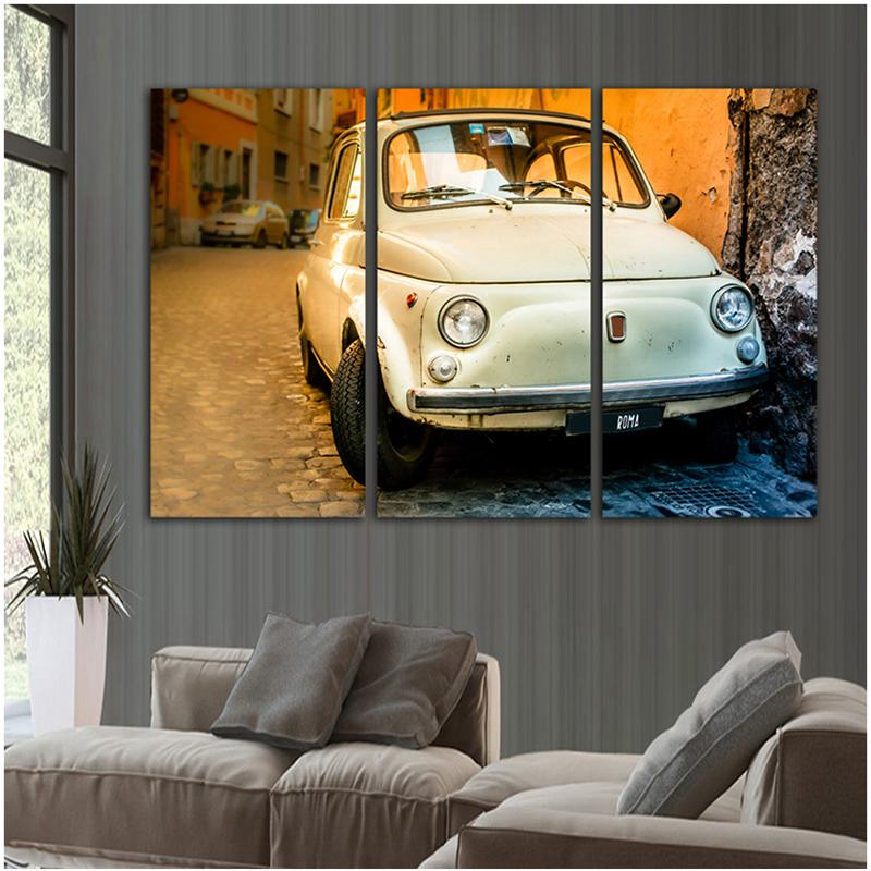 3 Piece White Car Canvas Wall Art Sets - It Make Your Day
