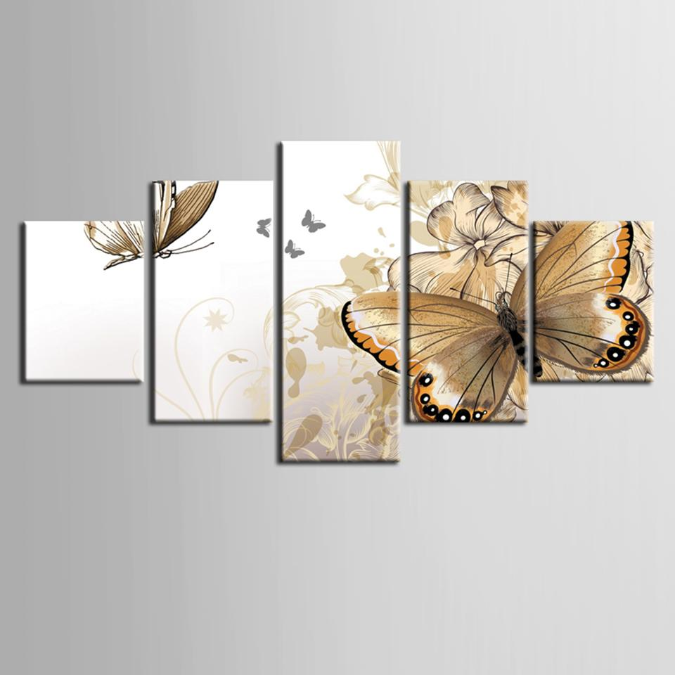 Framed 5 Piece Butterfly Paintings Canvas Wall Art Sets   It Make Your Day