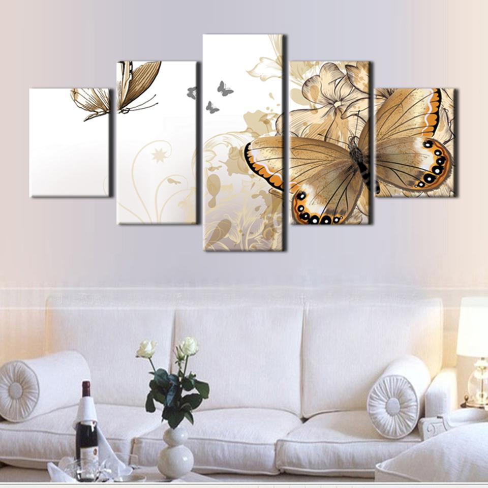 Framed 5 Piece Butterfly Paintings Canvas Wall Art Sets – It Make ...