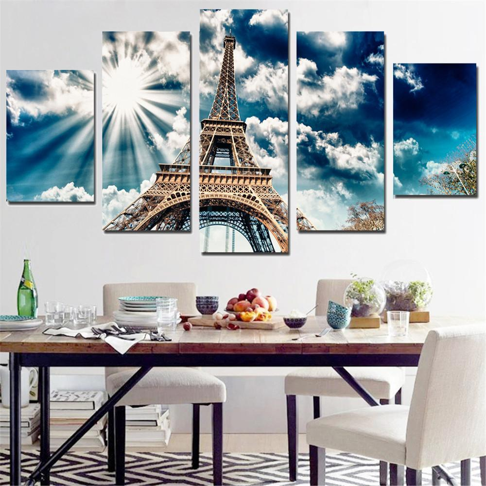 5 Piece Paris Eiffel Tower Canvas Painting Wall Art - It Make Your Day