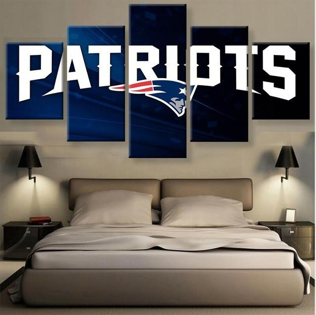 5 Piece Patriots Football Poster Sports Canvas Painting Wall Art - It Make Your Day