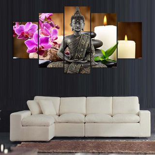 5 Piece Peaceful Buddha Meditation Orchid Spa Canvas Painting Wall Art - It Make Your Day
