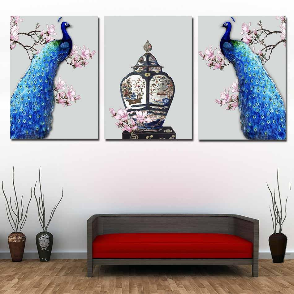 Peacock Wall Art Cool Framed 3 Piece Peacock Wall Art Canvas Paintings For Sale  It Inspiration Design