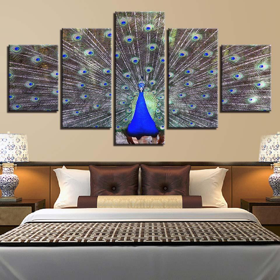 Framed 5 Piece Peacock Display Canvas Paintings - It Make Your Day