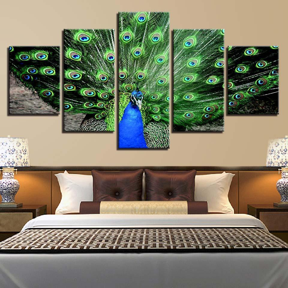 Framed 5 Piece Peacock Plumage Canvas Paintings - It Make Your Day