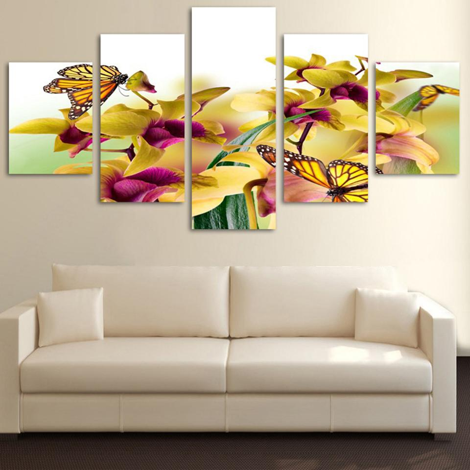 Framed 5 Piece Yellow Flowers Butterfly Canvas Wall Art Sets – It ...