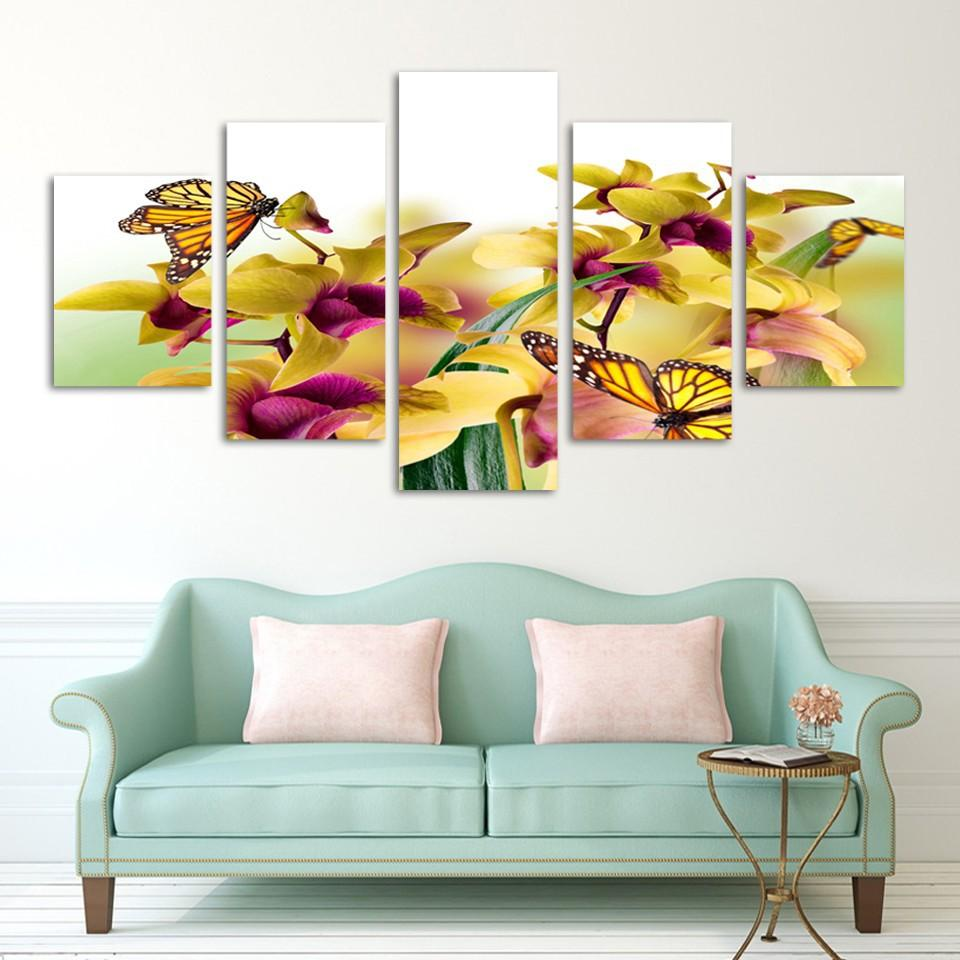 Framed 5 Piece Yellow Flowers Butterfly Canvas Wall Art Sets - It Make Your Day