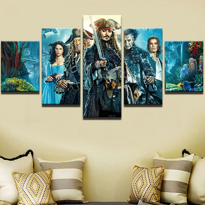 5 Piece Pirates Of The Caribbean: Dead Men Tell No Tales Canvas Painting Wall Art - It Make Your Day