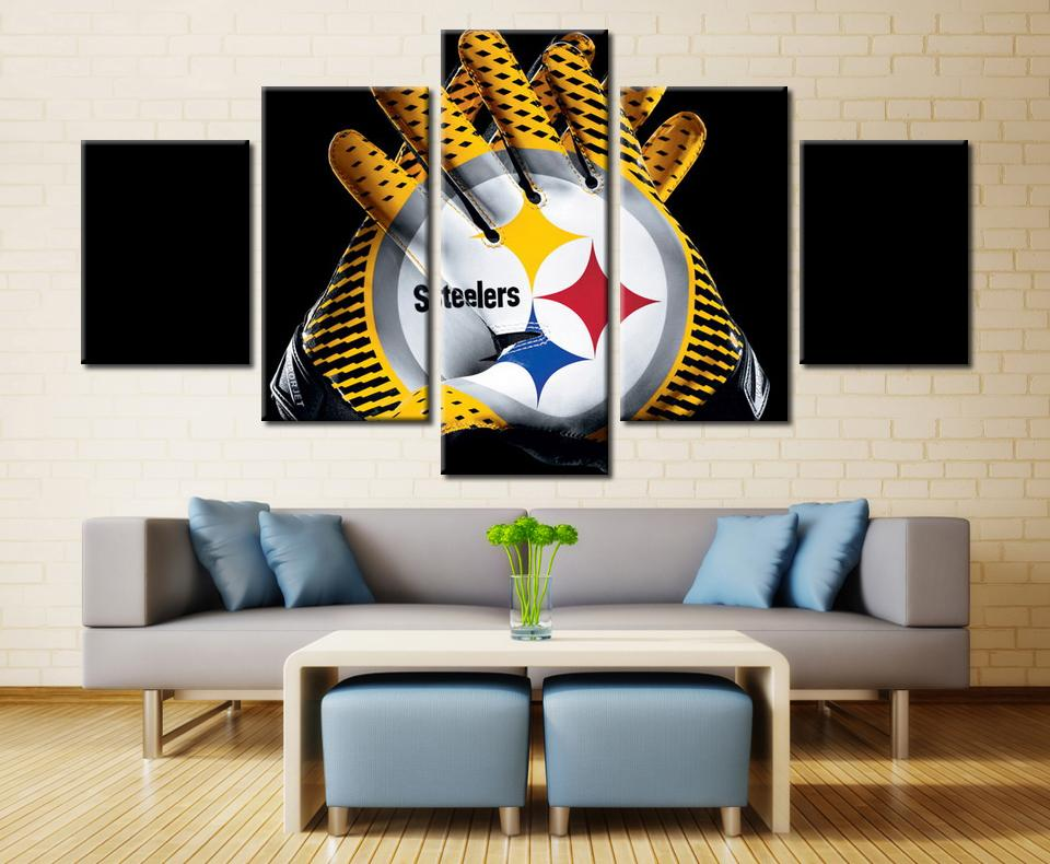 5 Piece Pittsburgh Steelers Gloves Football Canvas Paintings - It Make Your Day