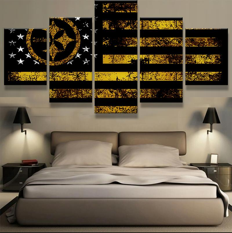 5 Piece Pittsburgh Steelers Flag Canvas Paintings - It Make Your Day