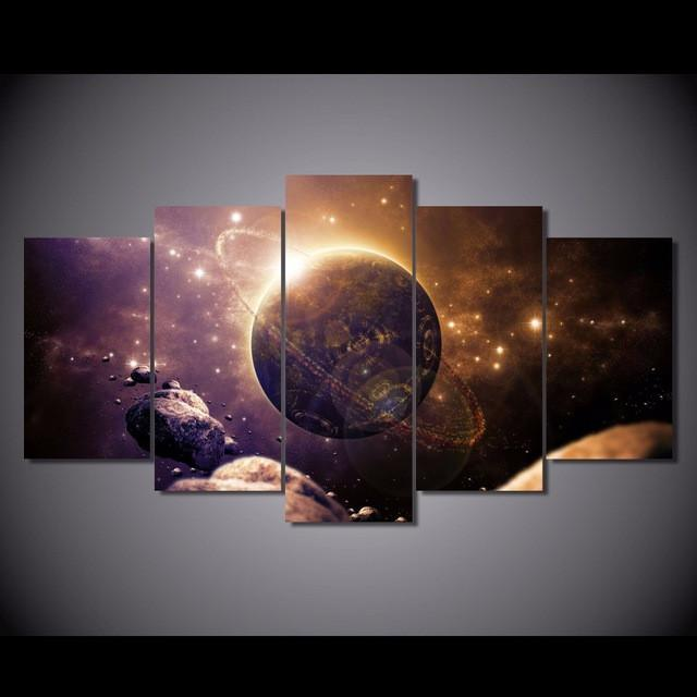 5 Piece Planet of the Universe Canvas Painting Wall Art - It Make Your Day
