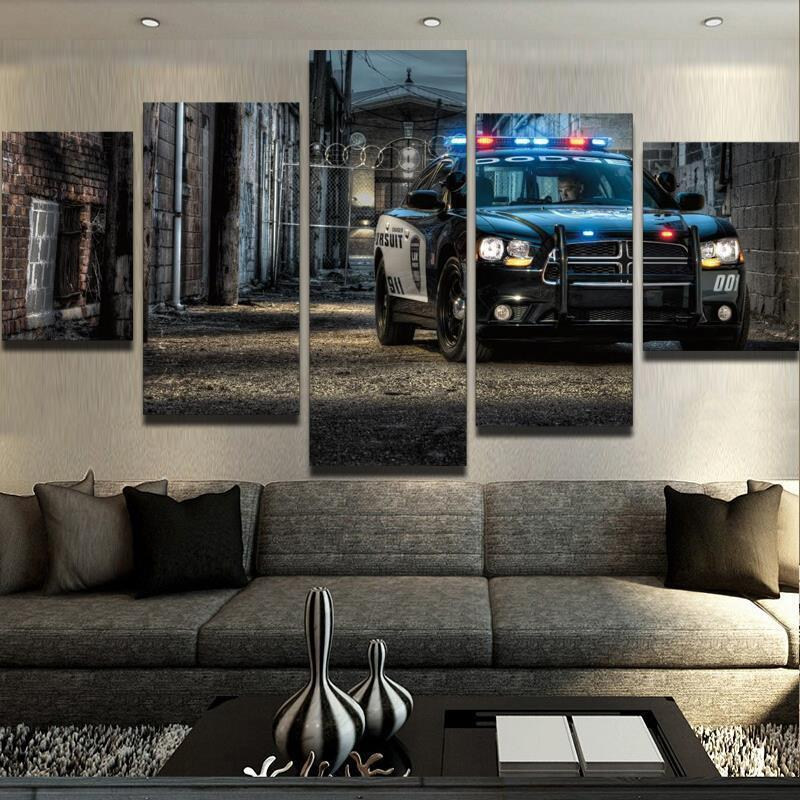 Police Car Canvas Painting Wall Art Home Decor - It Make Your Day