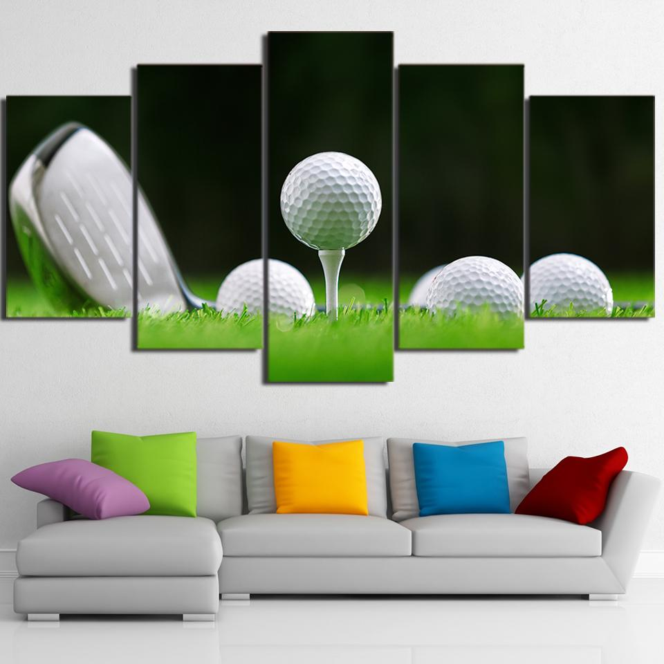 5 Panel White Golf Balls Canvas Wall Art Paintings - It Make Your Day