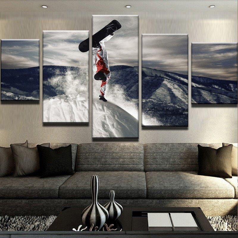Framed 5 Piece People At The Top Of The Hill Canvas Wall Art Paintings