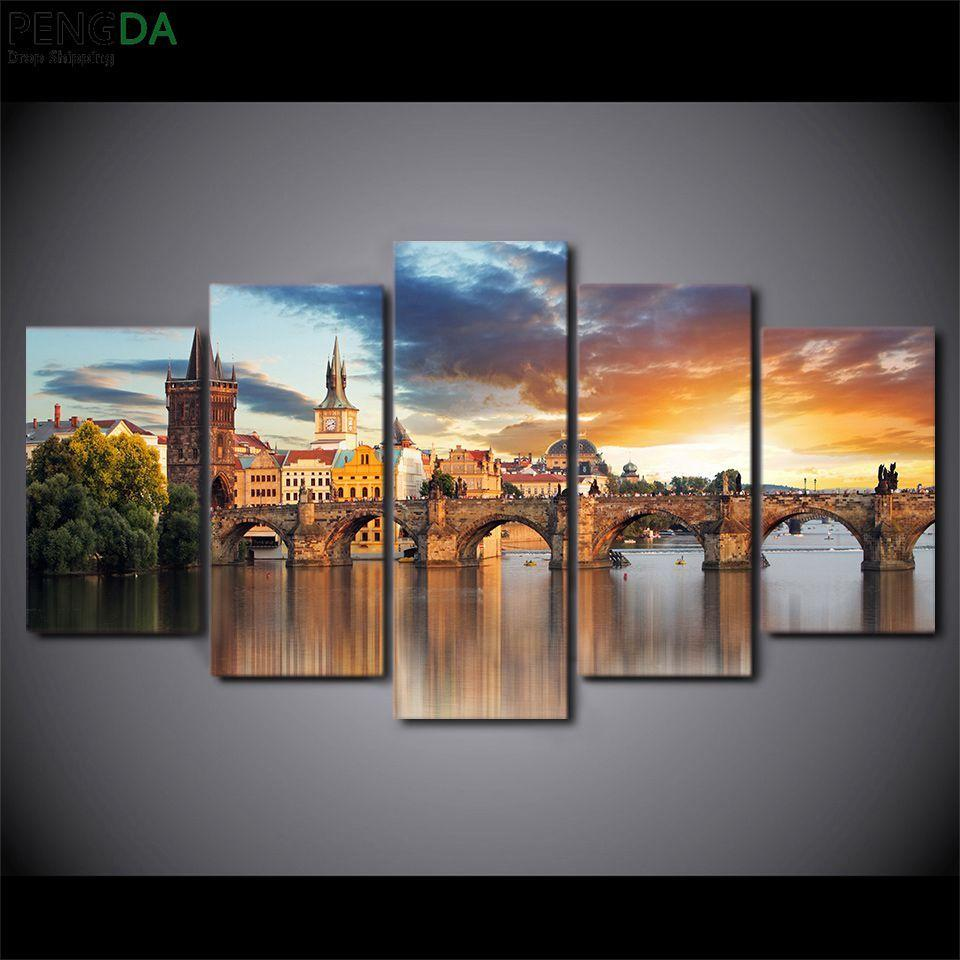 5 Piece Prague Charles Bridge Canvas Painting Sunset - It Make Your Day