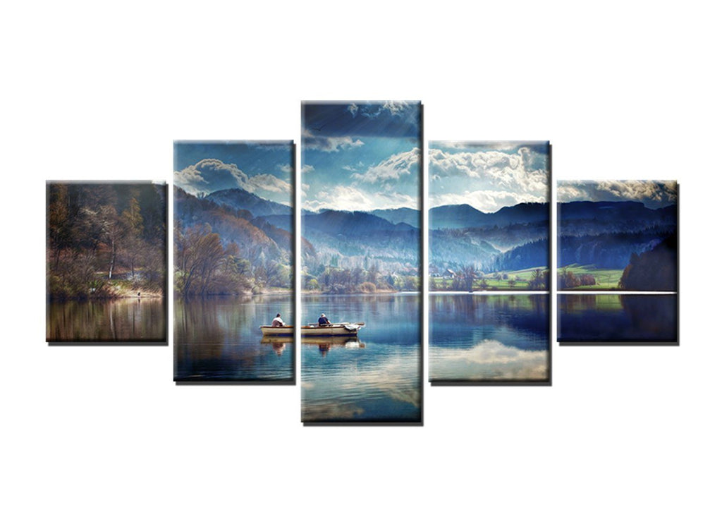 5 Piece Fishing in the Lake Canvas Wall Art Sets - It Make Your Day