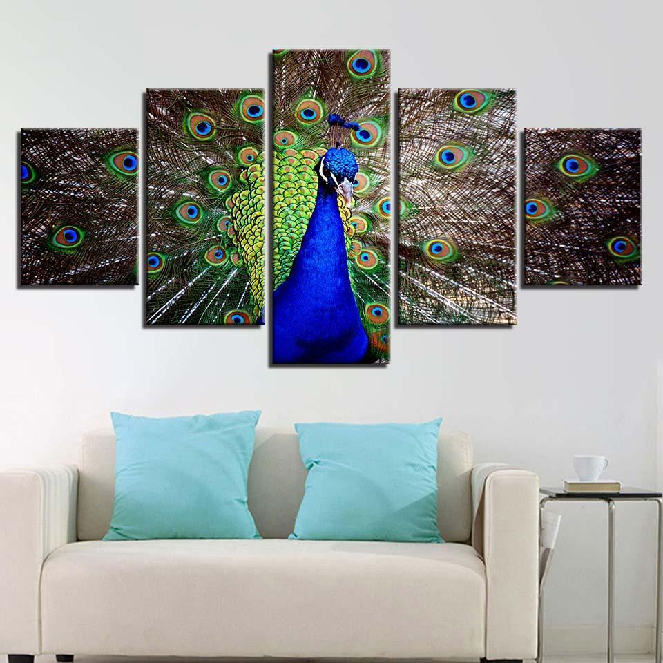 Framed 5 Piece Proud Peacock Canvas Paintings - It Make Your Day