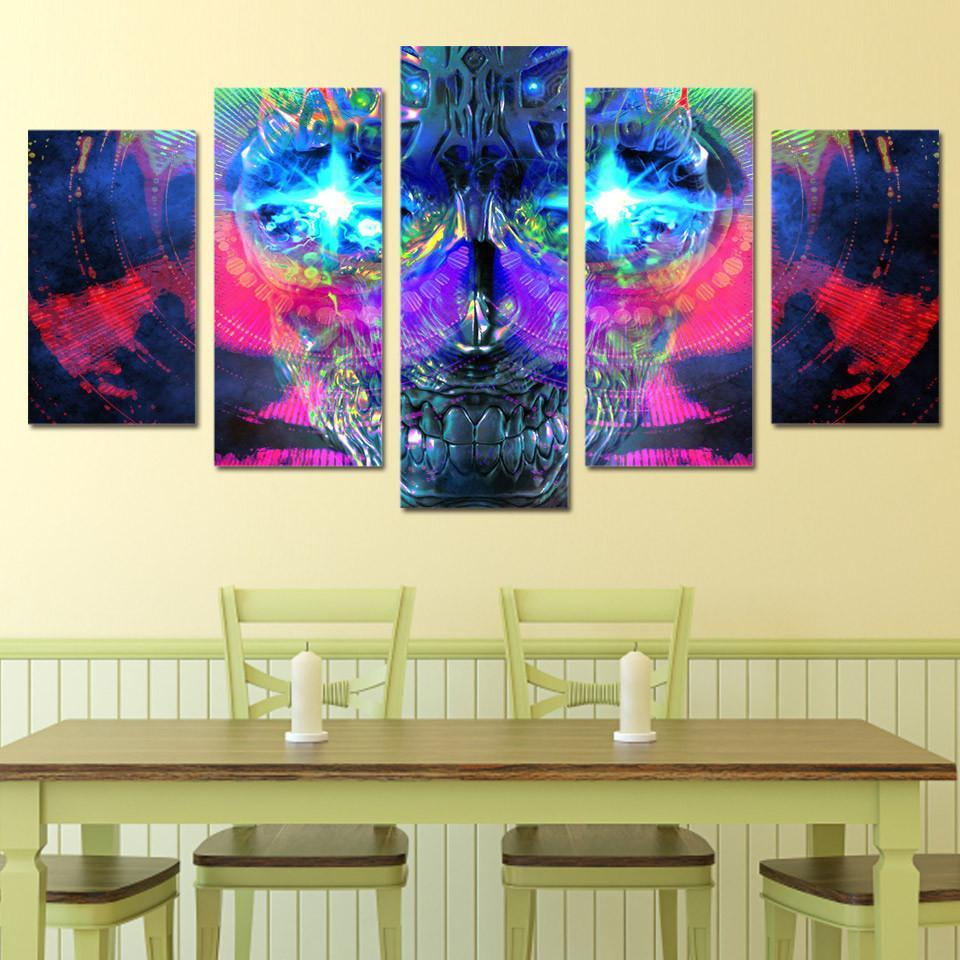 5 Piece Psychedelic Skull Abstract Canvas Painting Wall Art – It ...