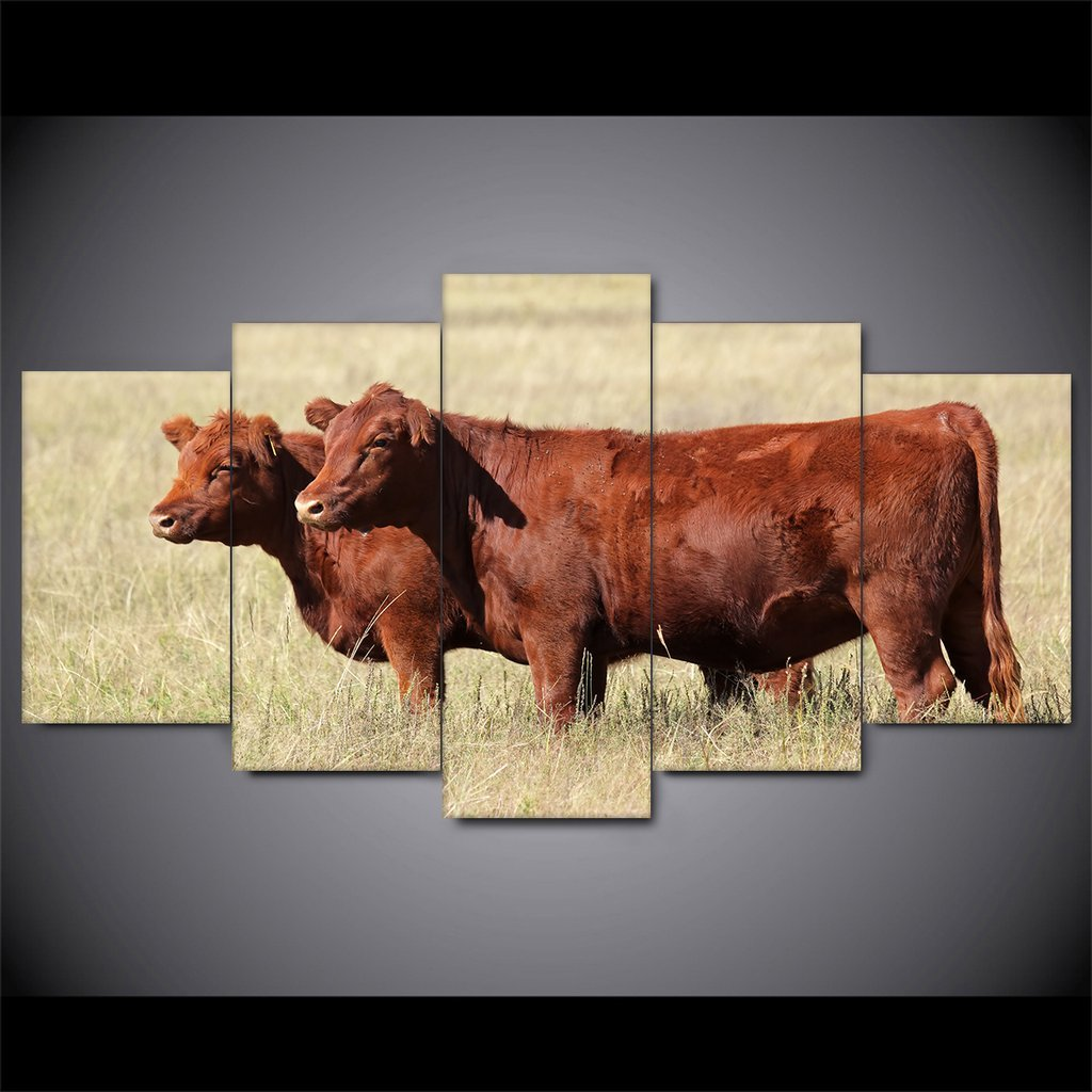 5 Piece Red Cattle Canvas Paintings - It Make Your Day