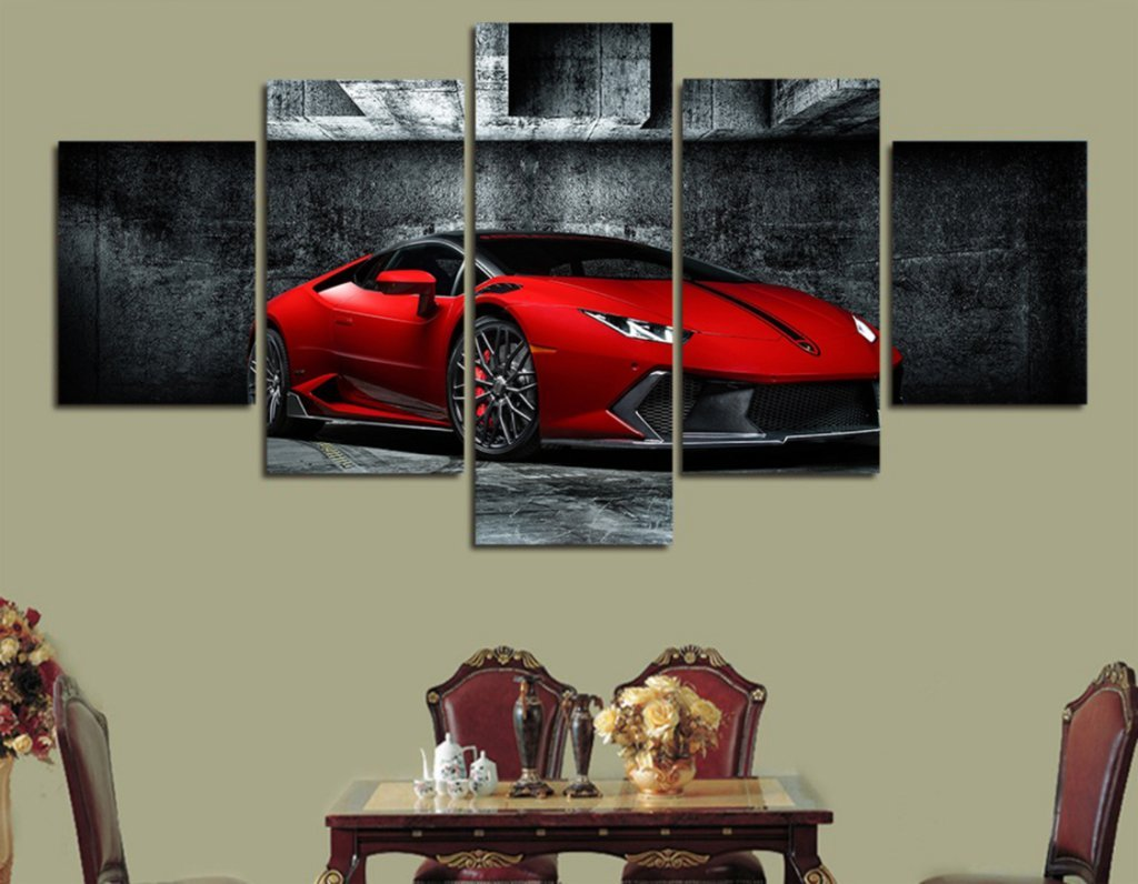 5 Piece Red Lamborghini Car Canvas Wall Art Sets - It Make Your Day