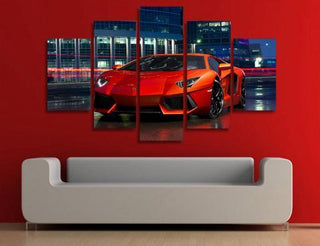 5 Piece Red Lamborghini Cars Canvas Wall Art Sets - It Make Your Day