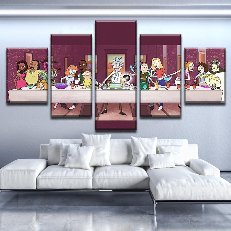 5 piece rick and morty last supper canvas wall art paintings for