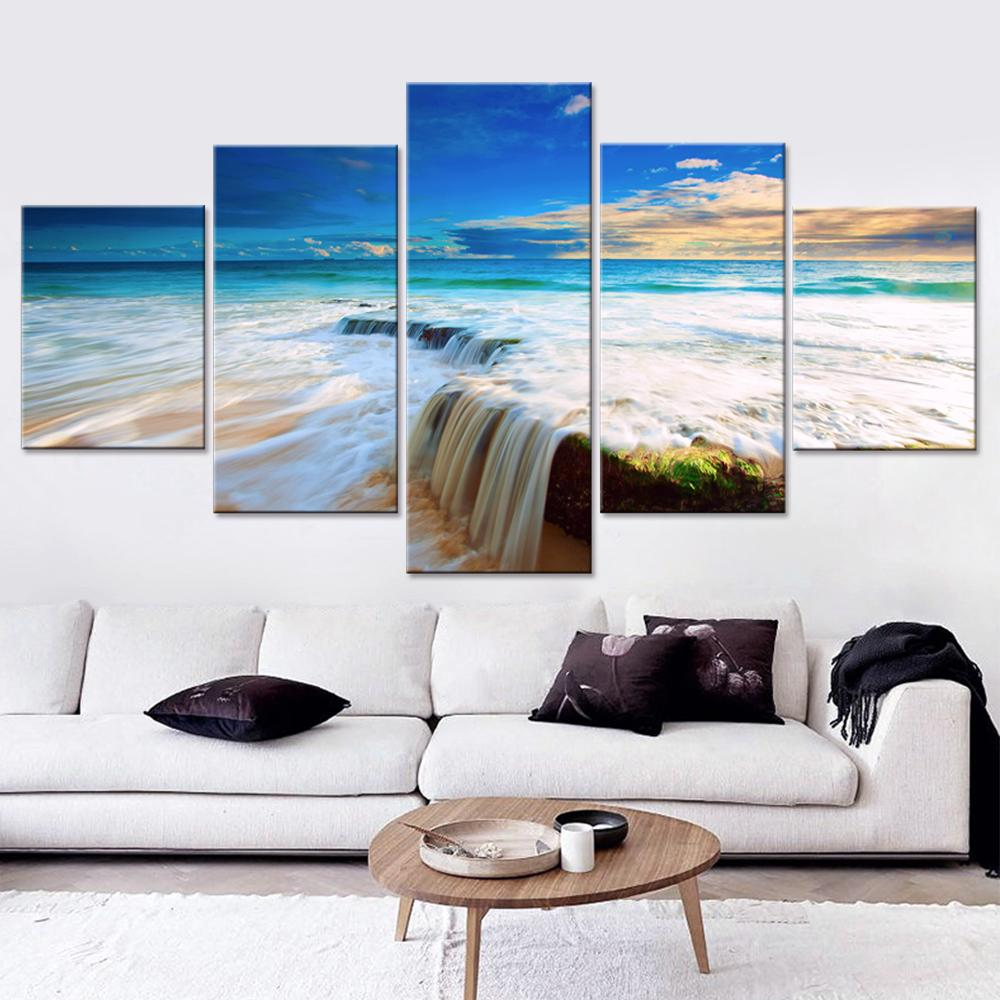 5 Piece Rapid Water Ocean Sea Canvas Paintings - It Make Your Day