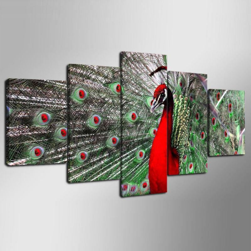 Framed 5 Piece Red Peacock Canvas Paintings - It Make Your Day