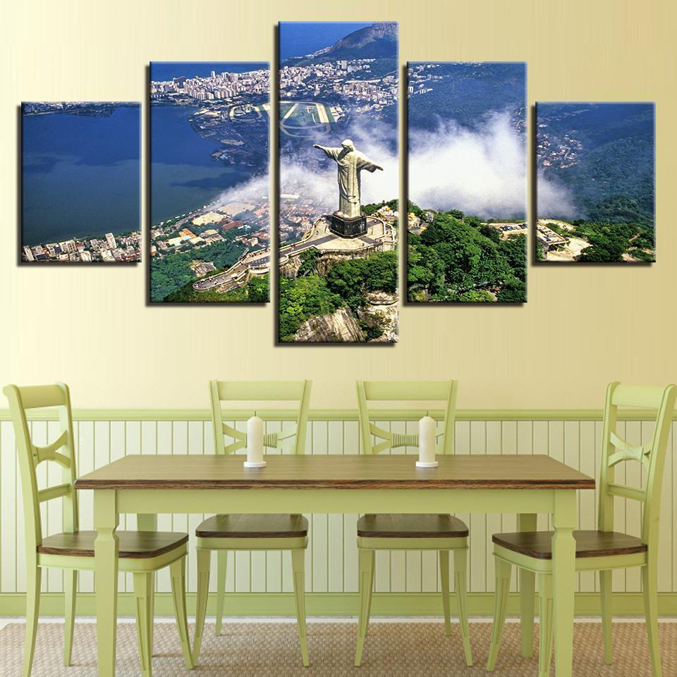 Framed 5 Piece Rio Christ the Redeemer Canvas Wall Art Paintings ...