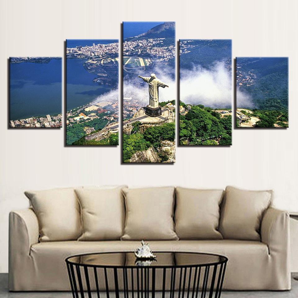 Framed 5 Piece Rio's Christ the Redeemer Canvas - It Make Your Day