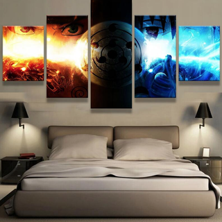 5 Piece Sasuke Vs. Naruto Print Canvas Wall Art Paintings