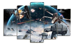 Framed 5 Piece Star Wars Battle Movie Canvas Wall Art Paintings - It Make Your Day