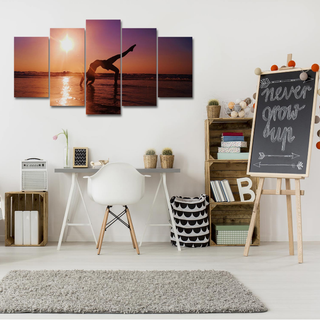 5 Piece Sunset Yoga Canvas Wall Art Paintings - It Make Your Day