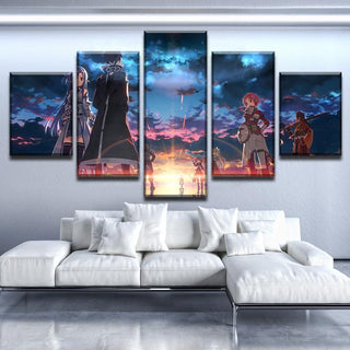 5 Piece Sword Art Online Canvas Wall Art Paintings - It Make Your Day