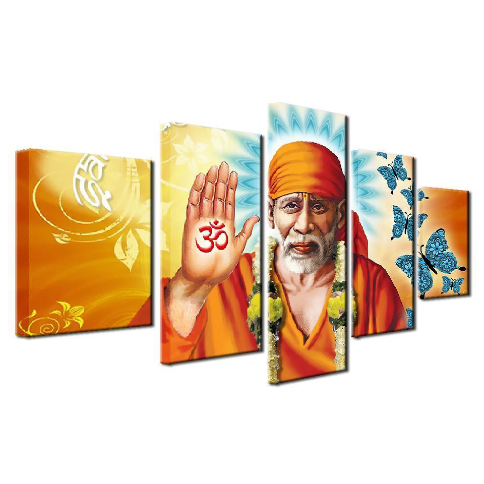 Framed 5 Piece Sai Baba Canvas Paintings - It Make Your Day